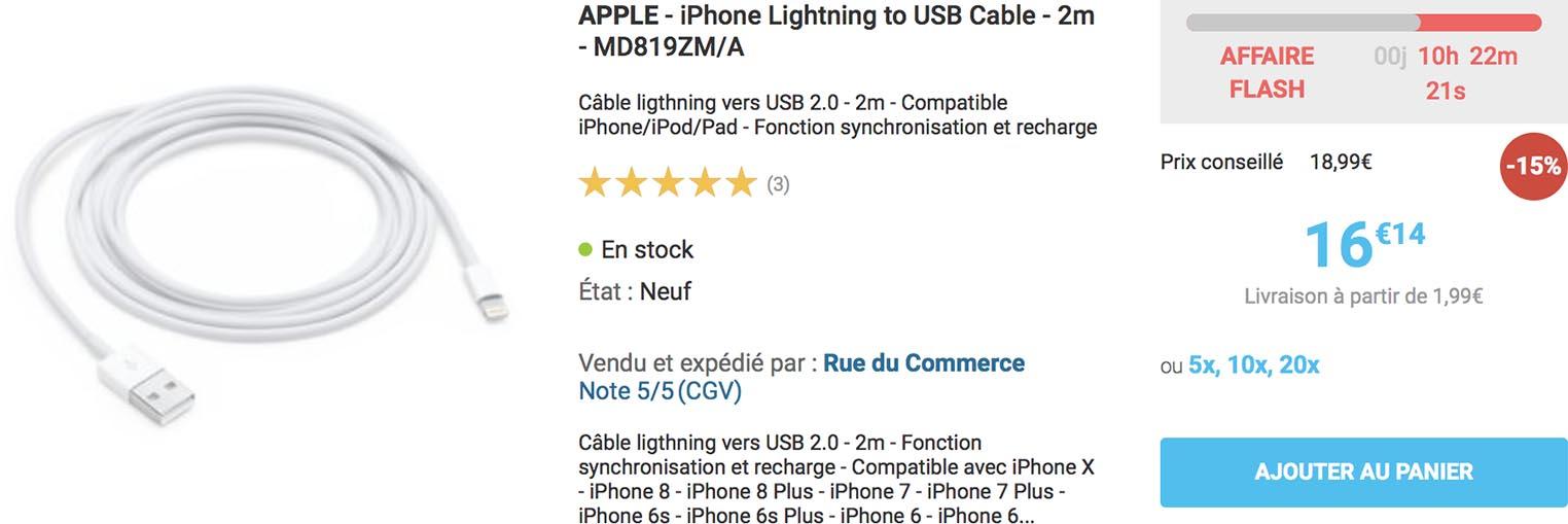 Câble Lightning Rue du Commerce