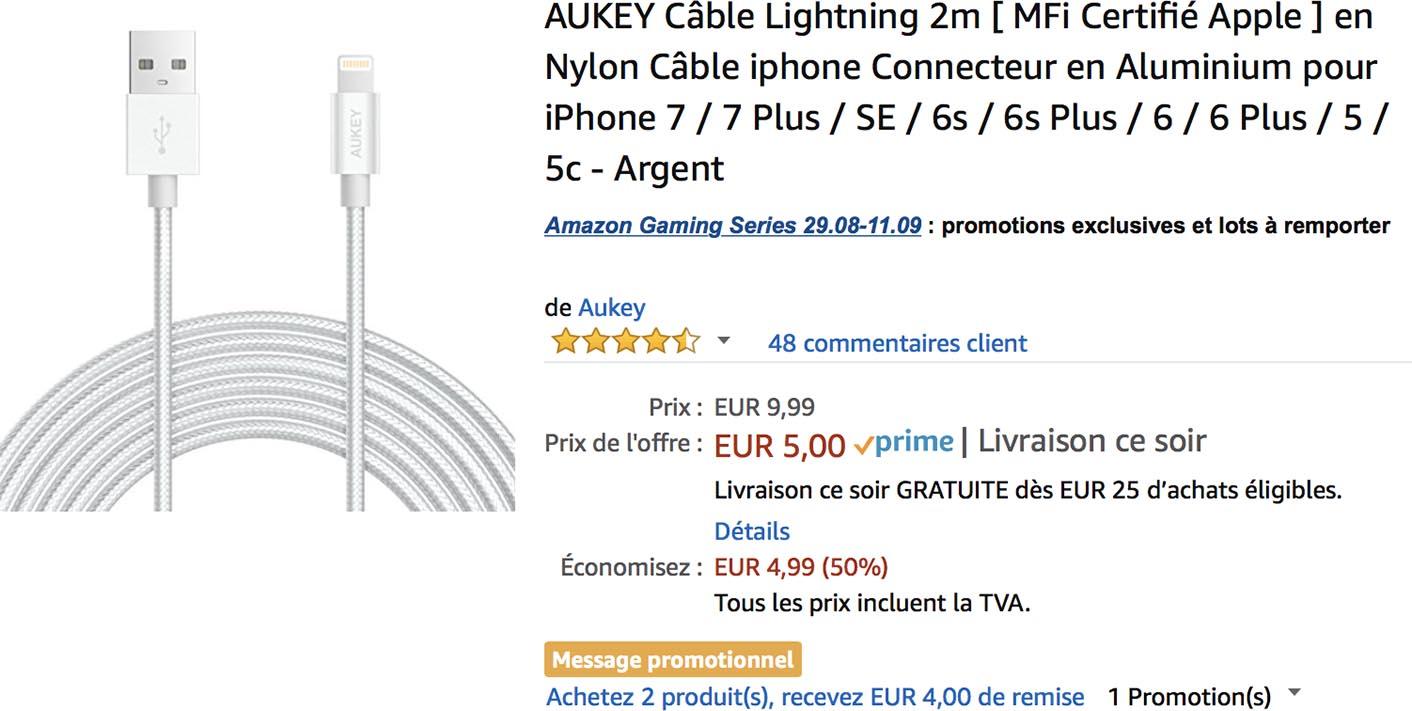 Câble Lightning tressé Amazon Aukey