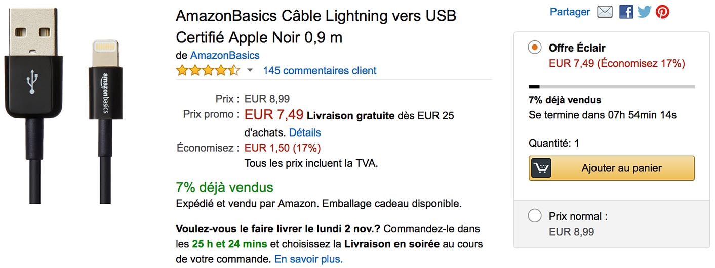 Câble Lightning promo Amazon