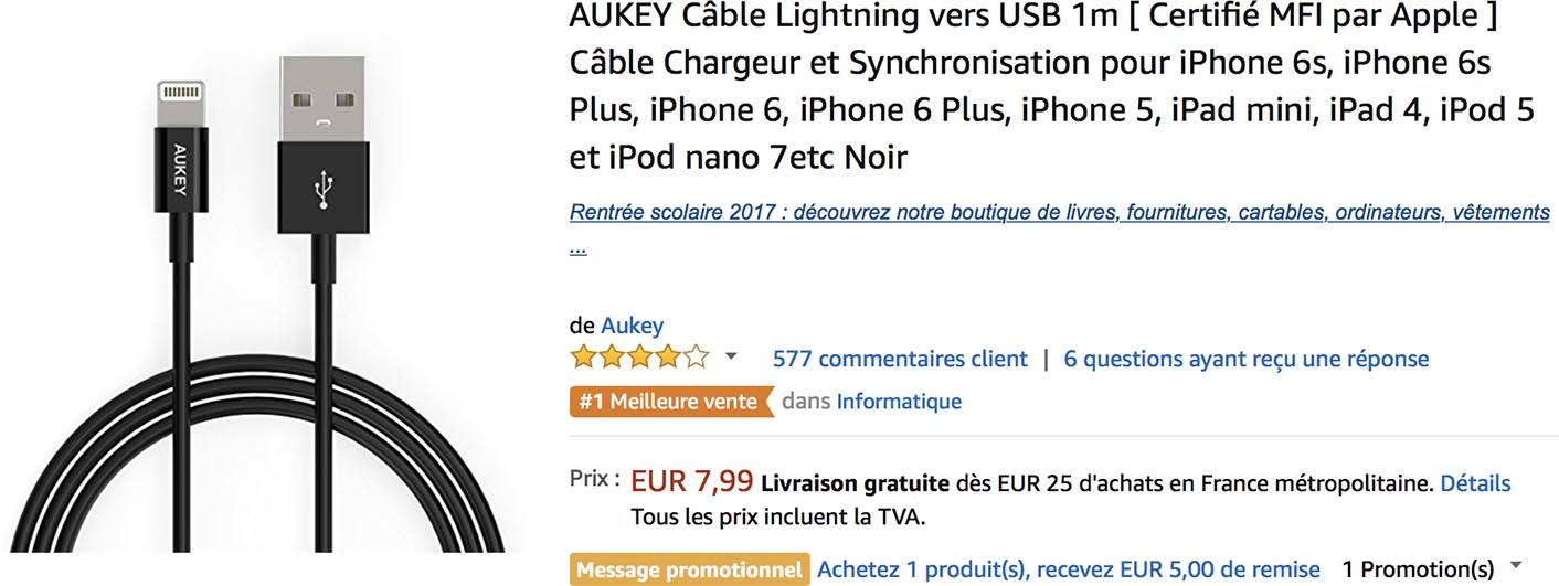 Câble Lightning Aukey Amazon