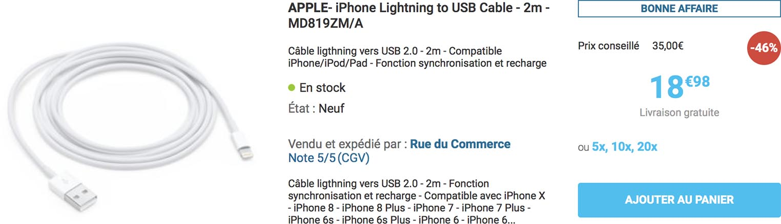 Câble Lightning Apple Rue du Commerce