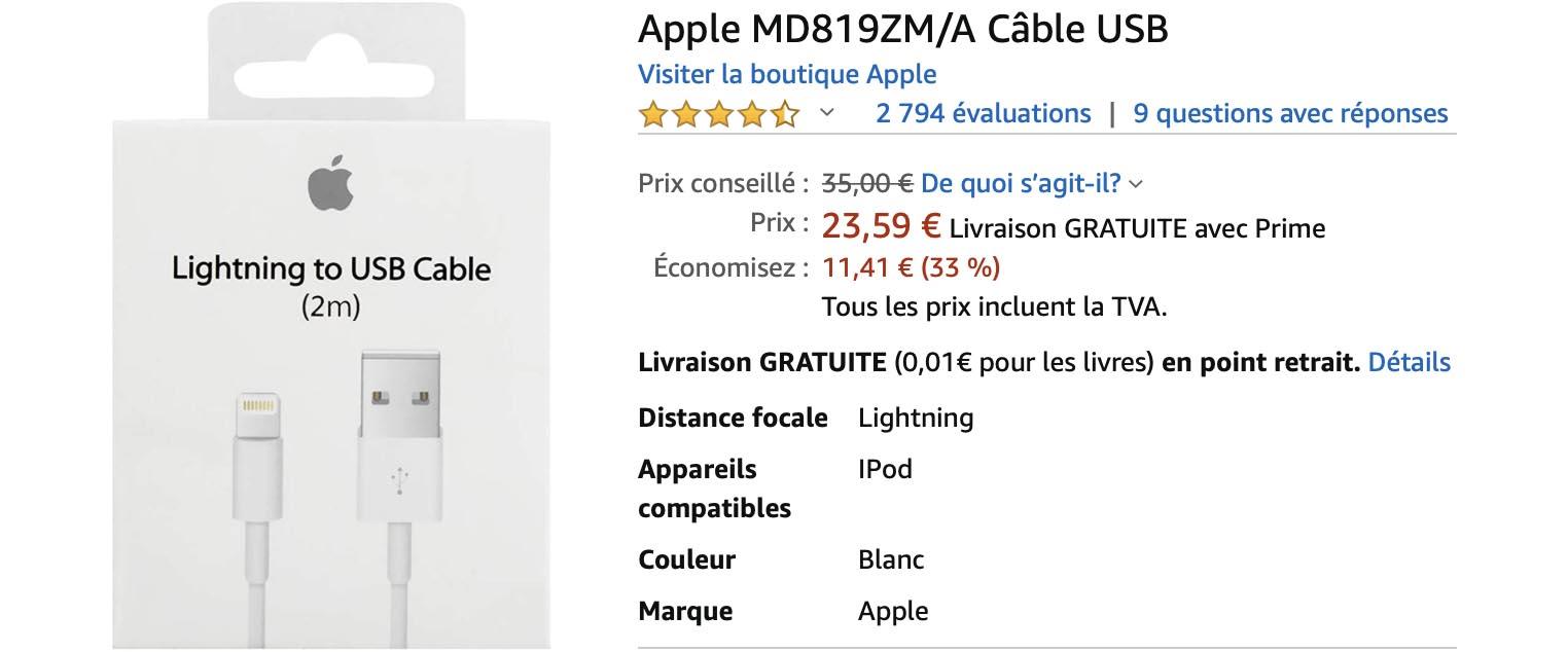 Câble Lightning 2m Amazon