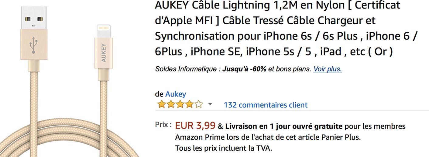 Câble Lightning Aukey promo Amazon