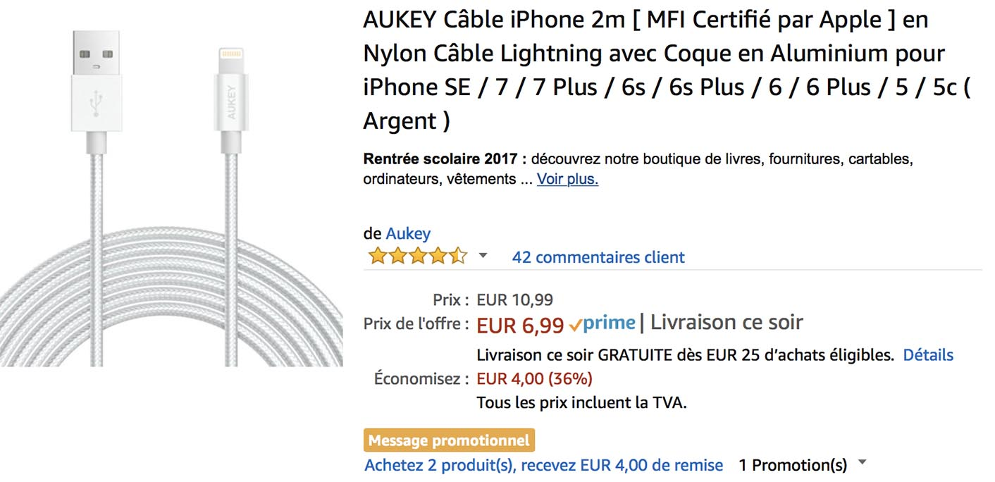 Câble Lightning Aukey Amazon