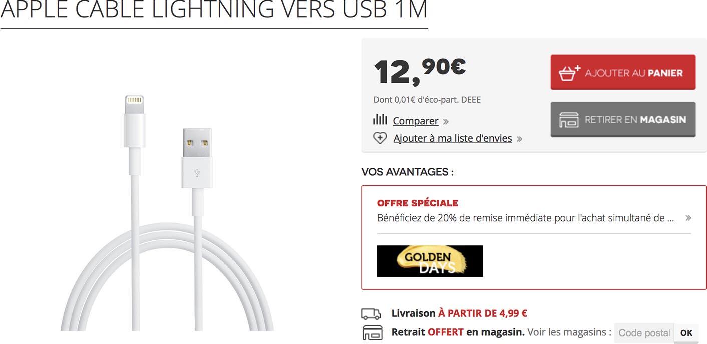 Câble Lightning Darty