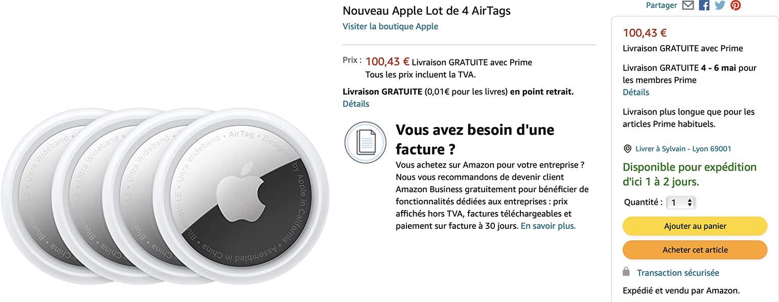 Lot de quatre AirTags Amazon