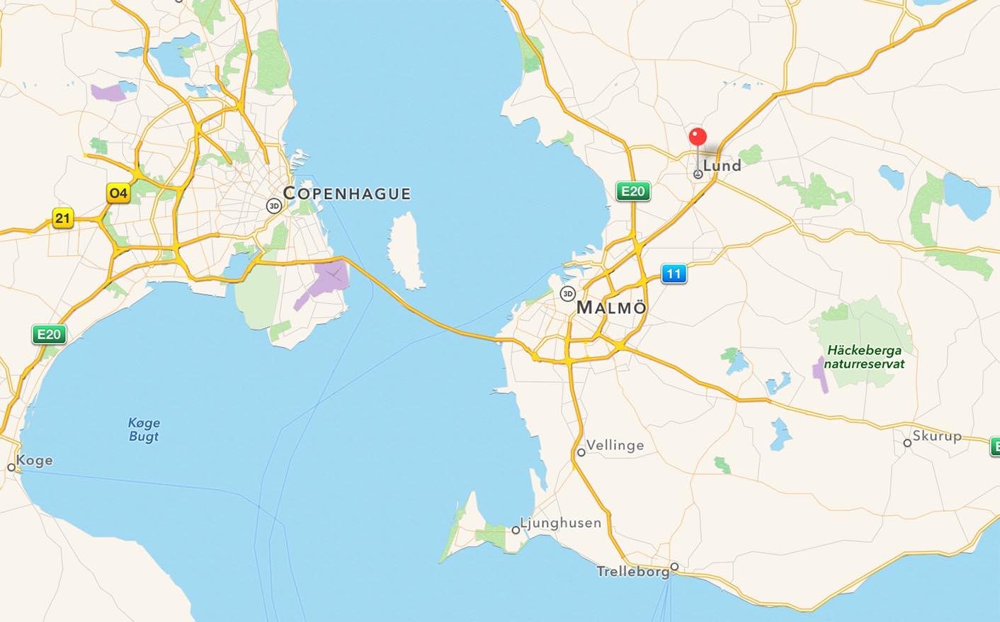 Carte Lund Suède