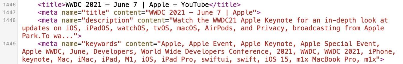MacBook Pro M1X tags YouTube WWDC
