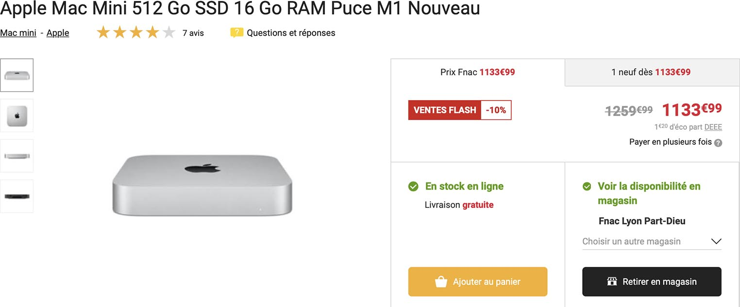 Mac mini M1 promo Fnac