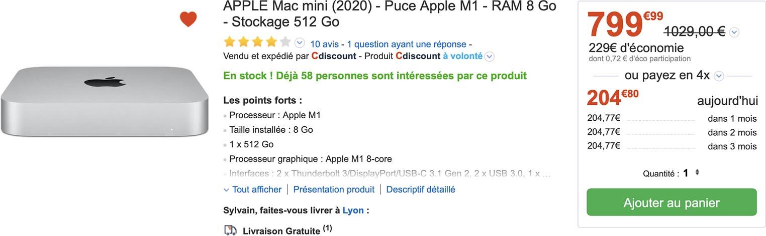 Mac mini M1 CDiscount