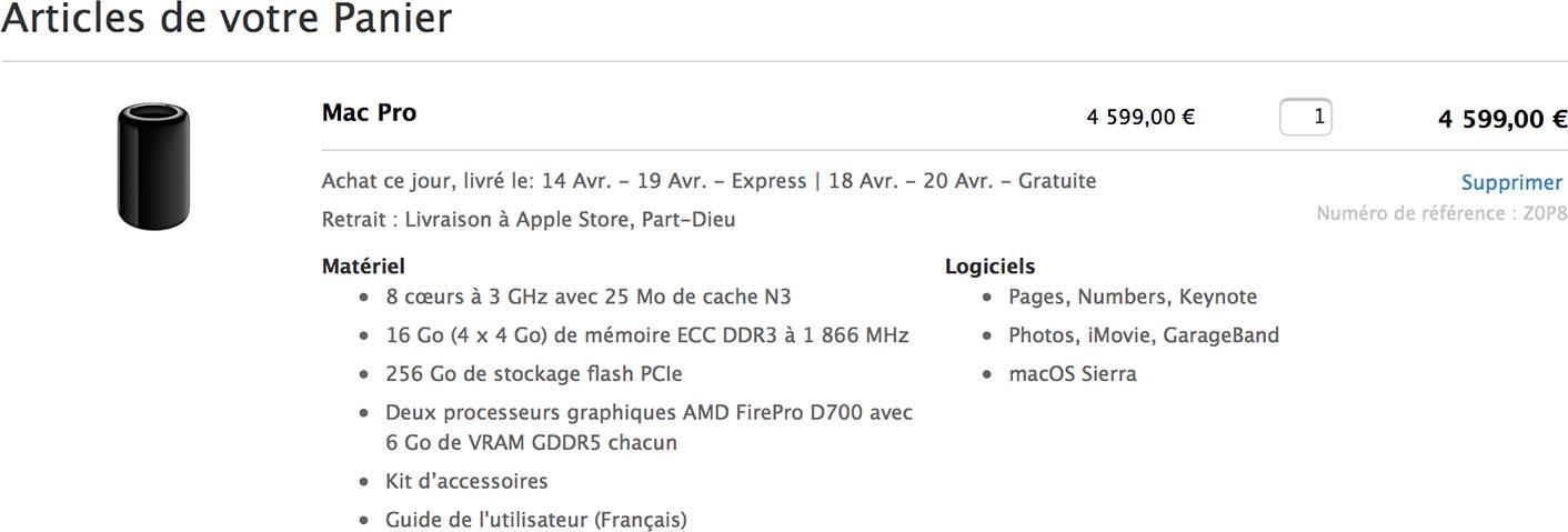 Mac Pro 8 coeurs Apple Store