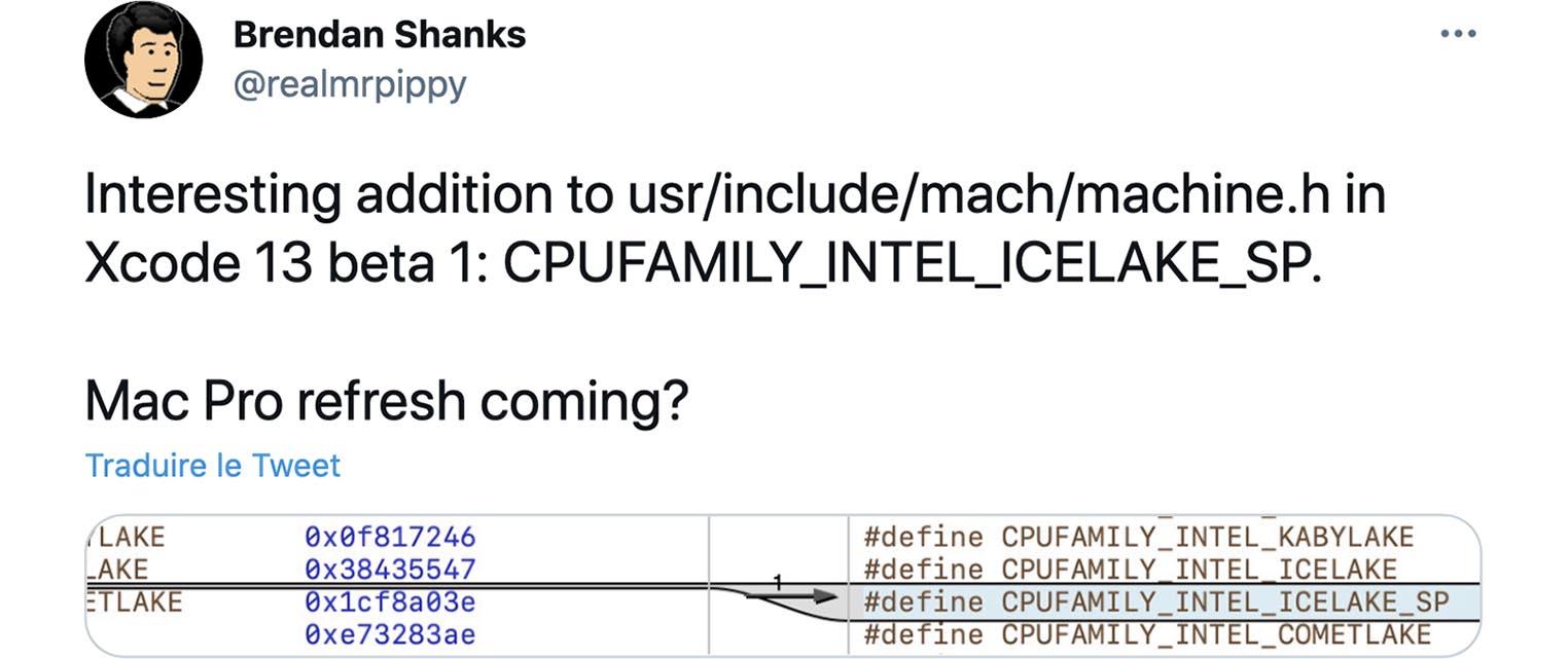 Mac Pro Icelake SP tweet