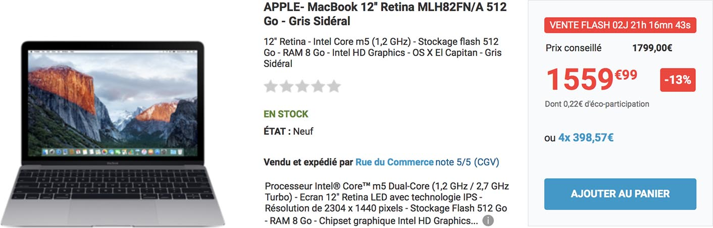 MacBook 12 promo Rue du Commerce