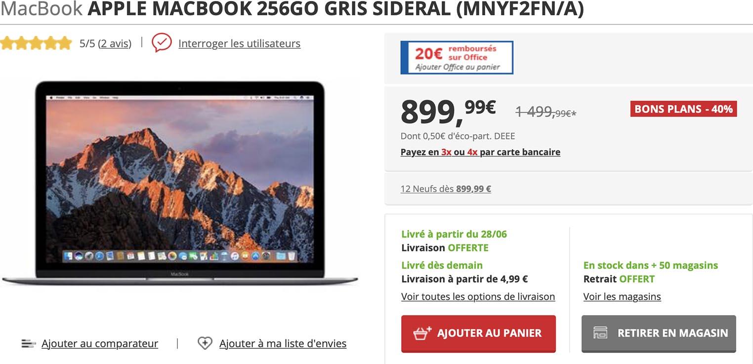 MacBook 12 Darty soldes