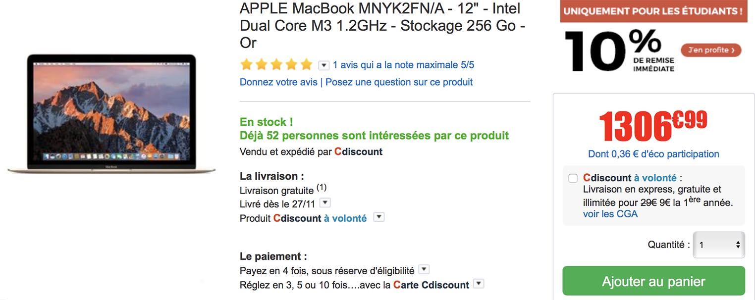 MacBook étudiants CDiscount