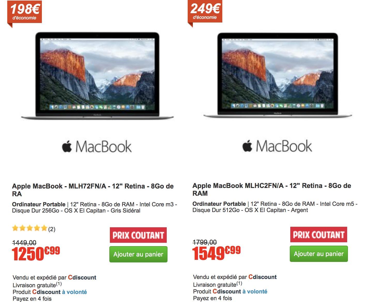 MacBook 12 promo CDiscount
