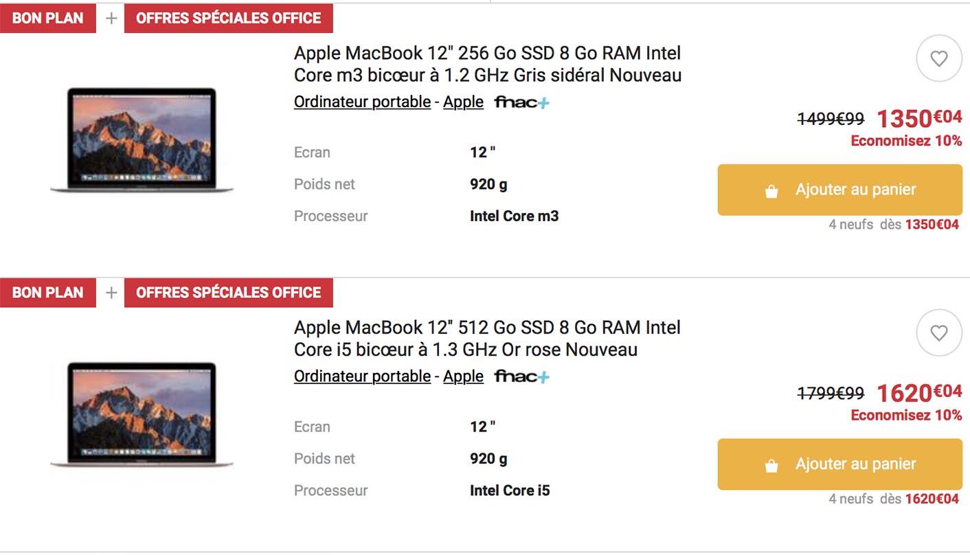 MacBook 12 pouces 2017 promo
