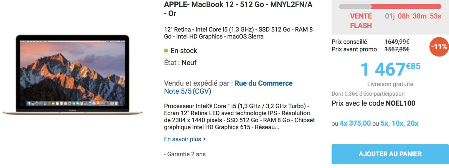 MacBook 12 pouces Rue du Commerce