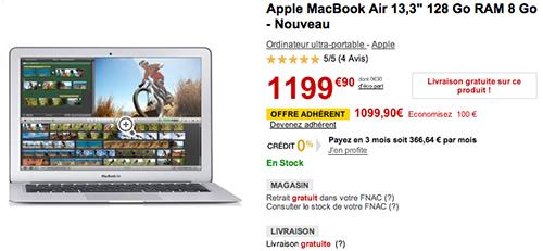 consomac macbook air 13 pouces 8 go pour le prix de 4 go la fnac. Black Bedroom Furniture Sets. Home Design Ideas