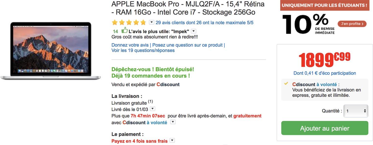 MacBook Pro étudiants CDiscount