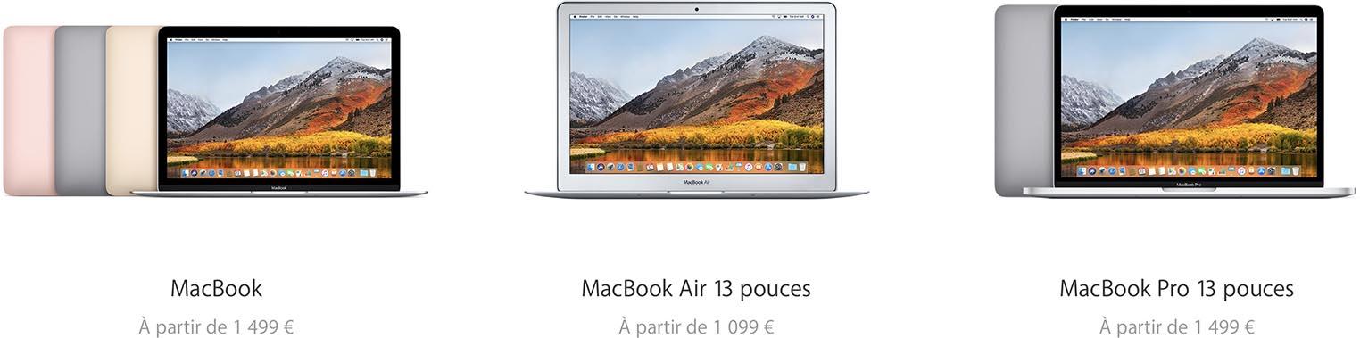 MacBook gamme 2017