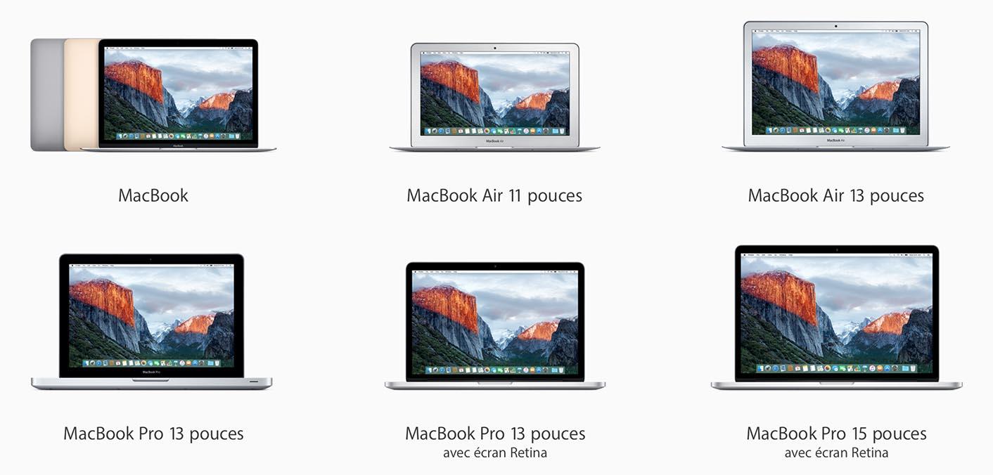 MacBook gamme 2015