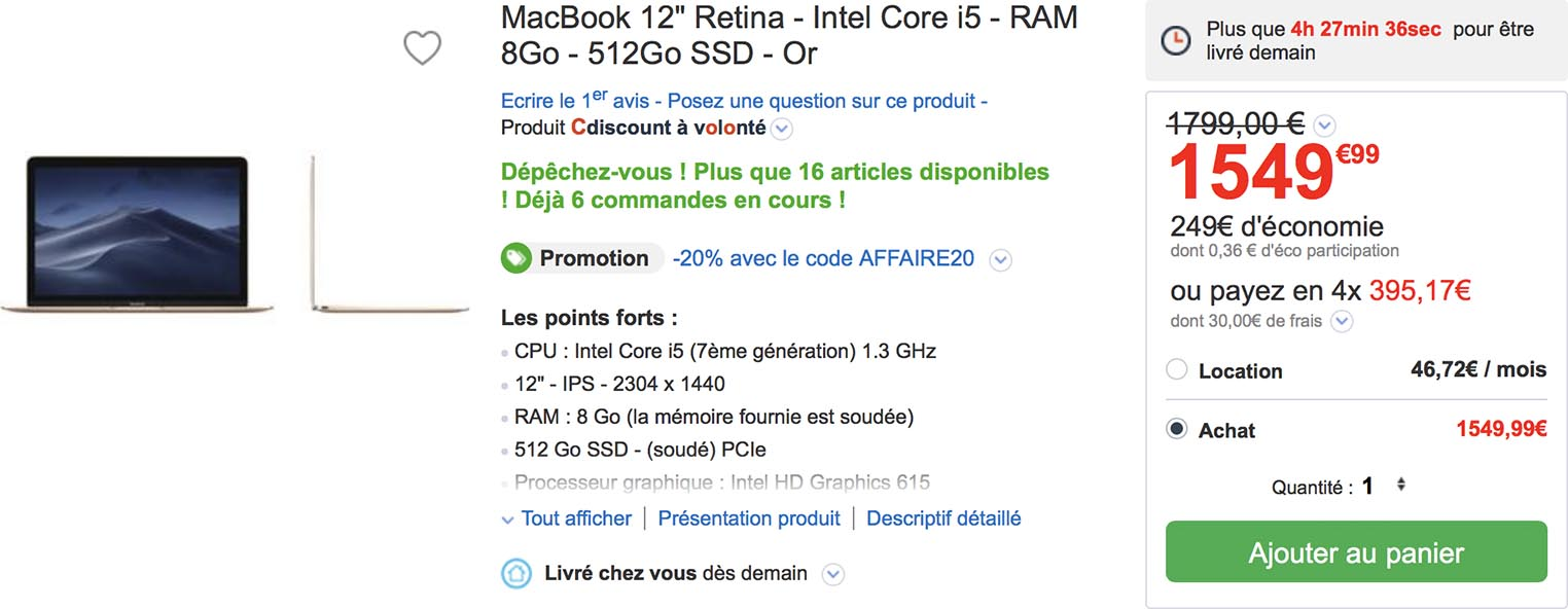 MacBook CDiscount