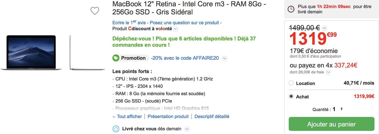 MacBook 12 CDiscount