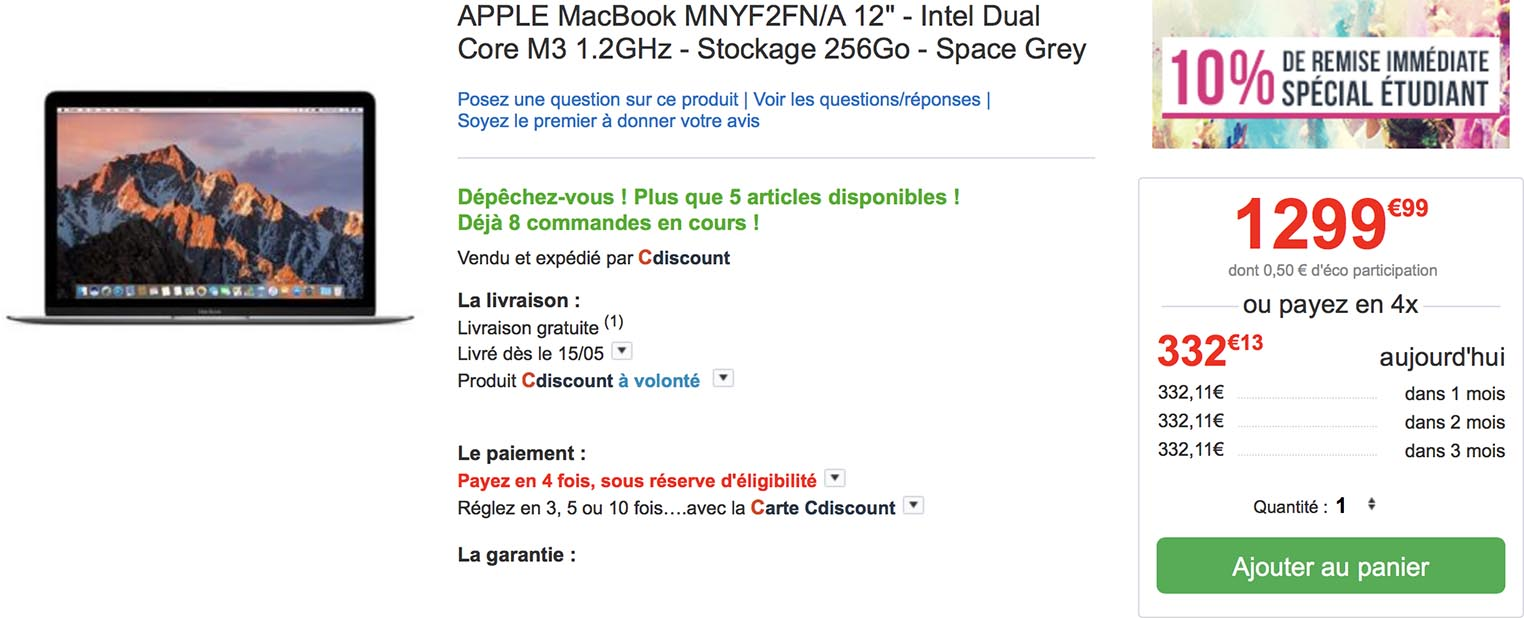 MacBook 12 étudiants CDiscount