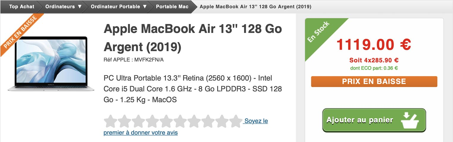 MacBook Air Top Achat