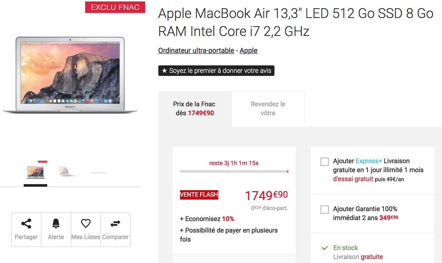 consomac le macbook air haut de gamme en vente flash. Black Bedroom Furniture Sets. Home Design Ideas
