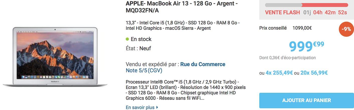 MacBook Air 2017 vente flash Rue du Commerce
