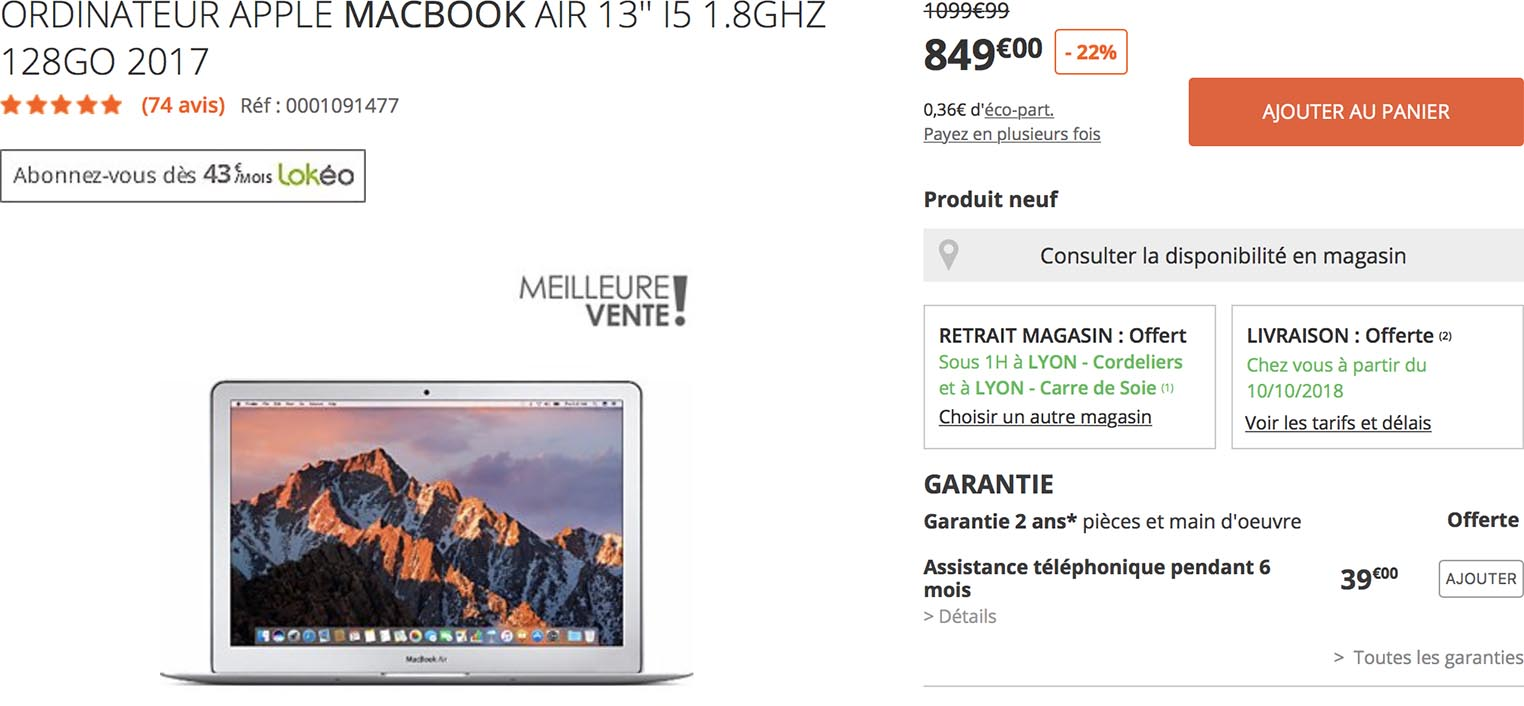 MacBook Air Boulanger