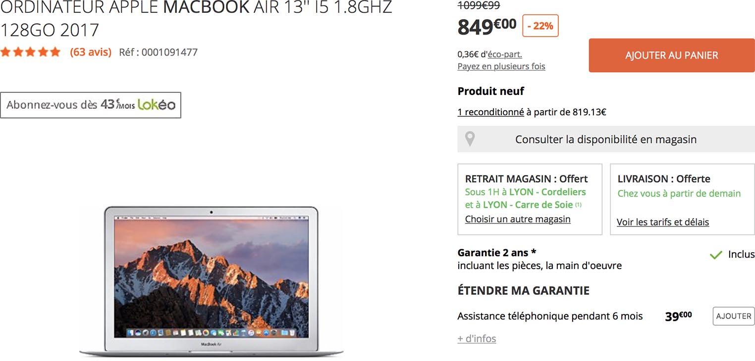 MacBook Air Boulanger