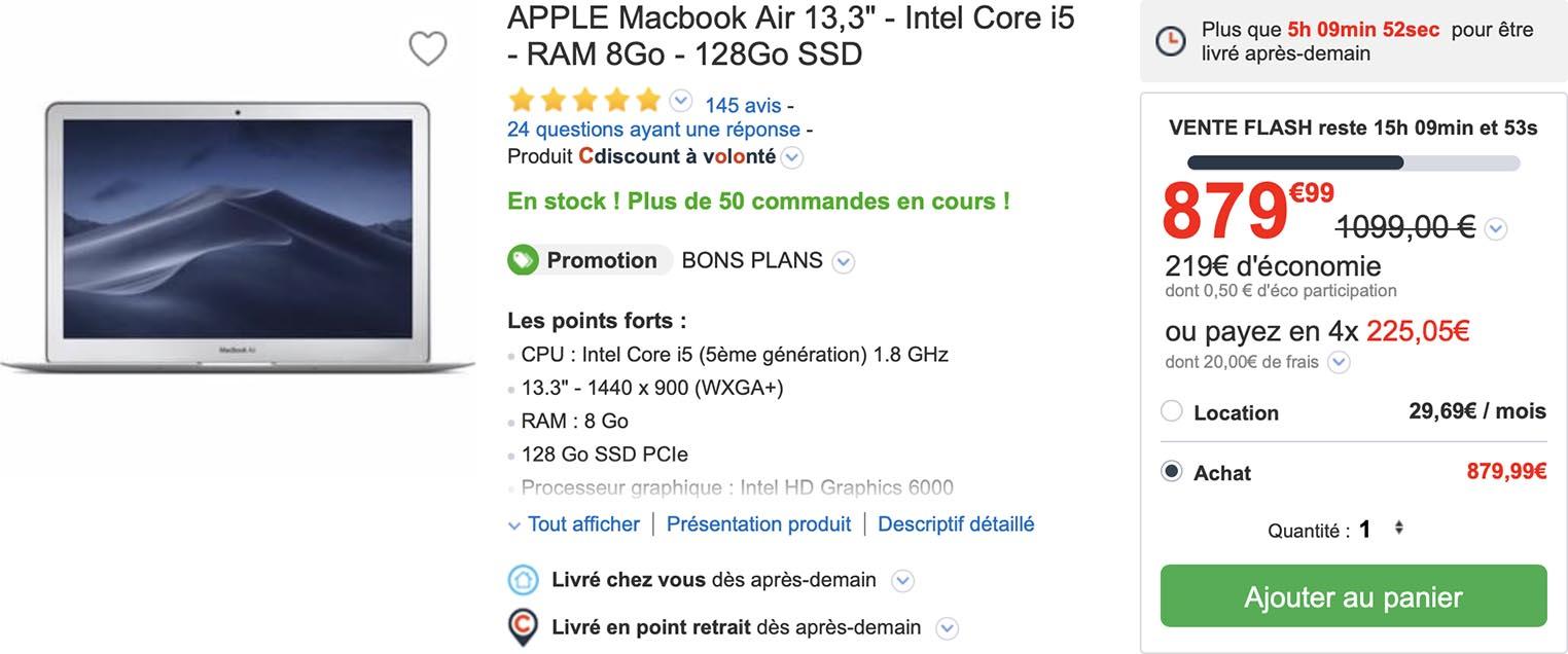 MacBook Air classique CDiscount
