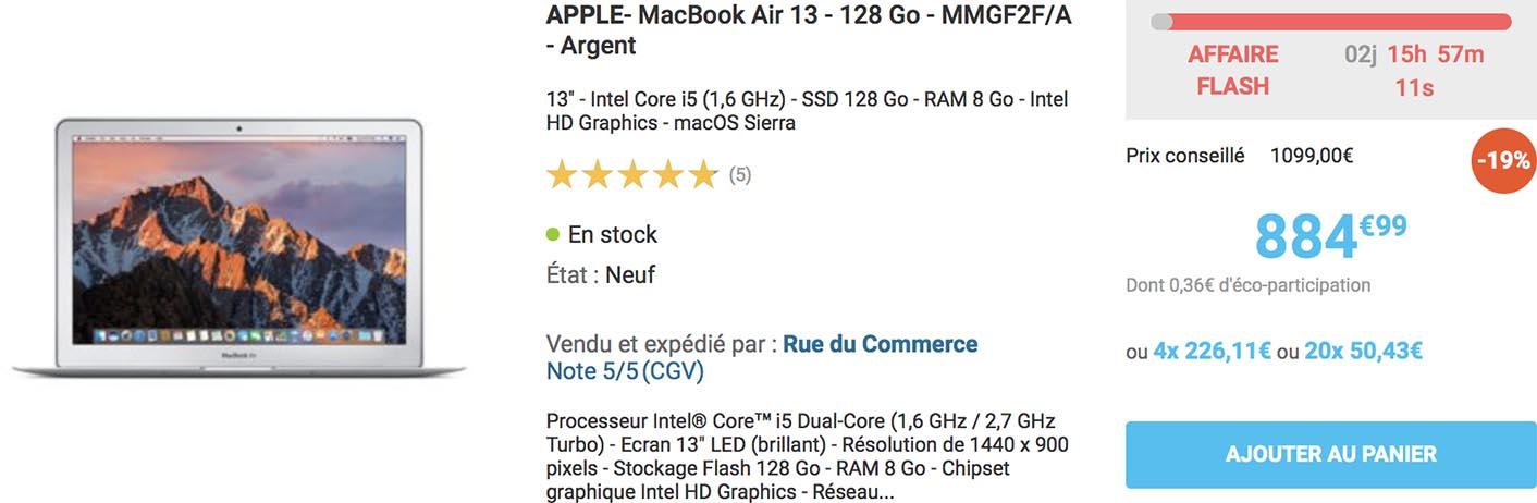 Promo MacBook Air Rue du Commerce