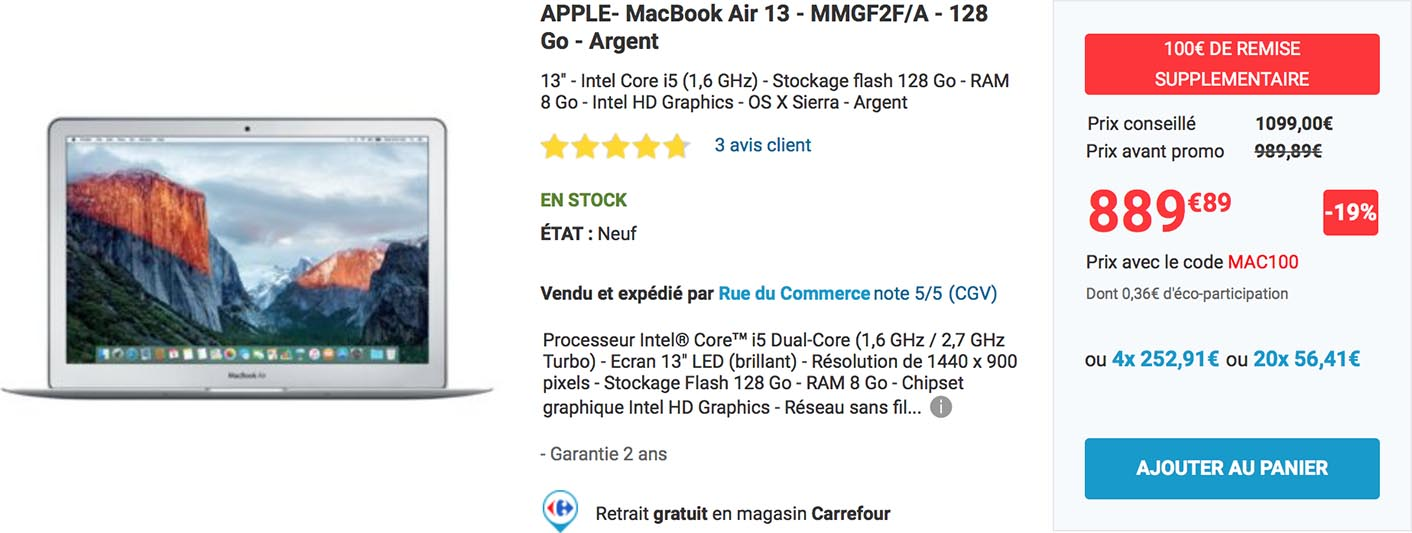MacBook Air 13 promo Rue du Commerce