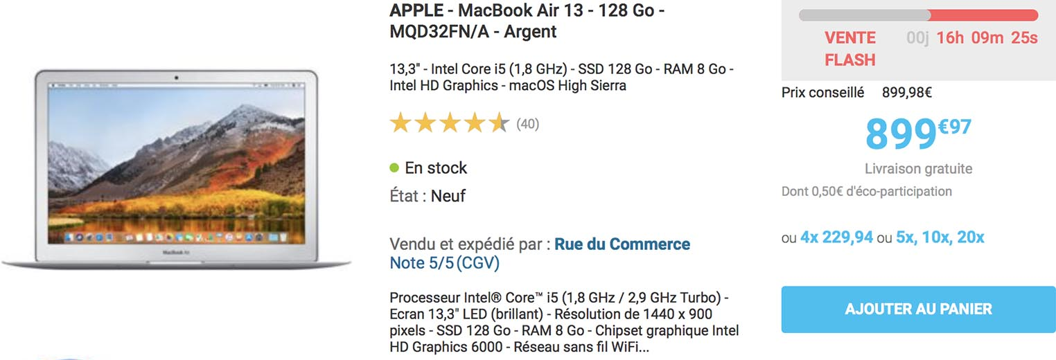MacBook Air vente flash Rue du Commerce