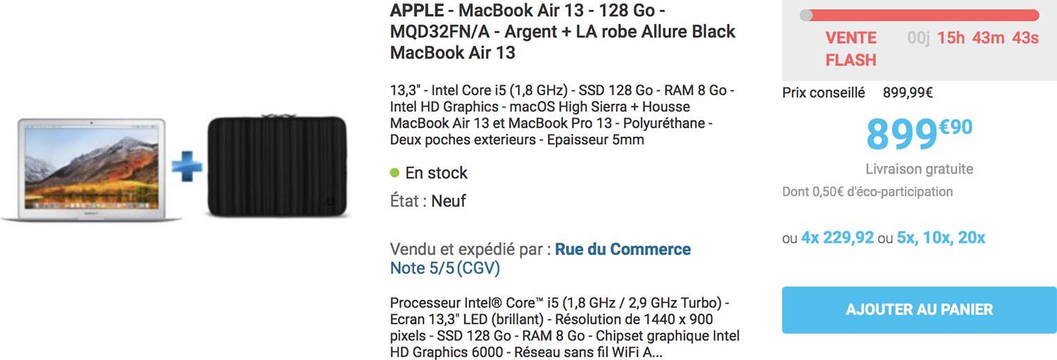 Vente flash MacBook Air Rue du Commerce