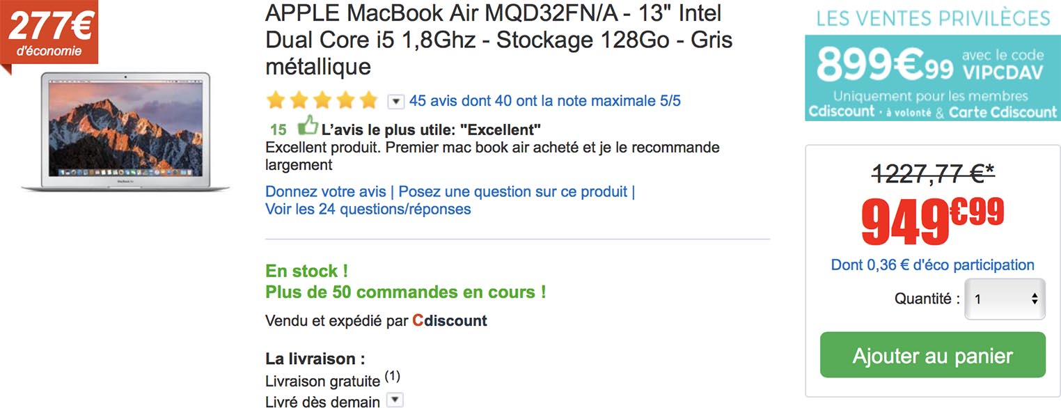 Carte Cdiscount Utile.Consomac Un Macbook Air 13 3 Neuf A 899 99