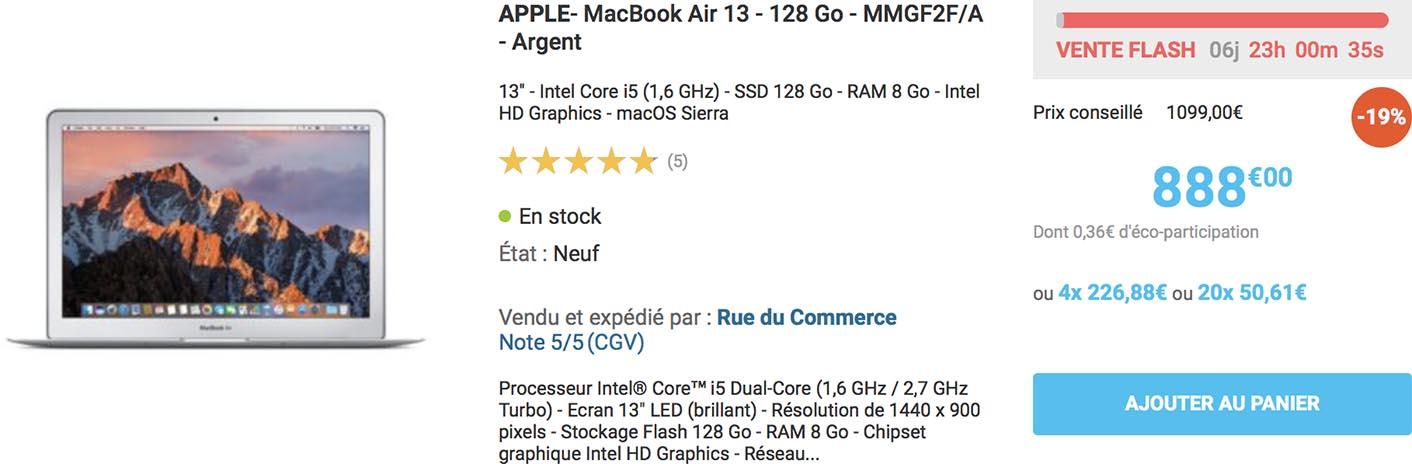 MacBook Air promo Rue du Commerce