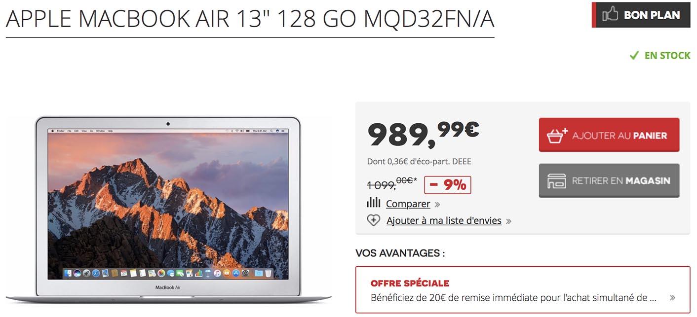 Promo MacBook Air 2017 Darty