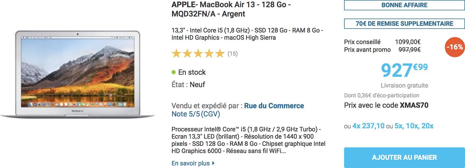 MacBook Air 2017 promo Rue du Commerce