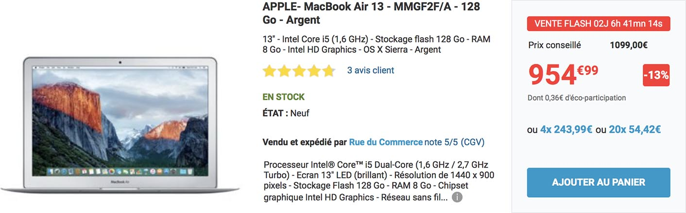 MacBook Air promo Rue du Commerce
