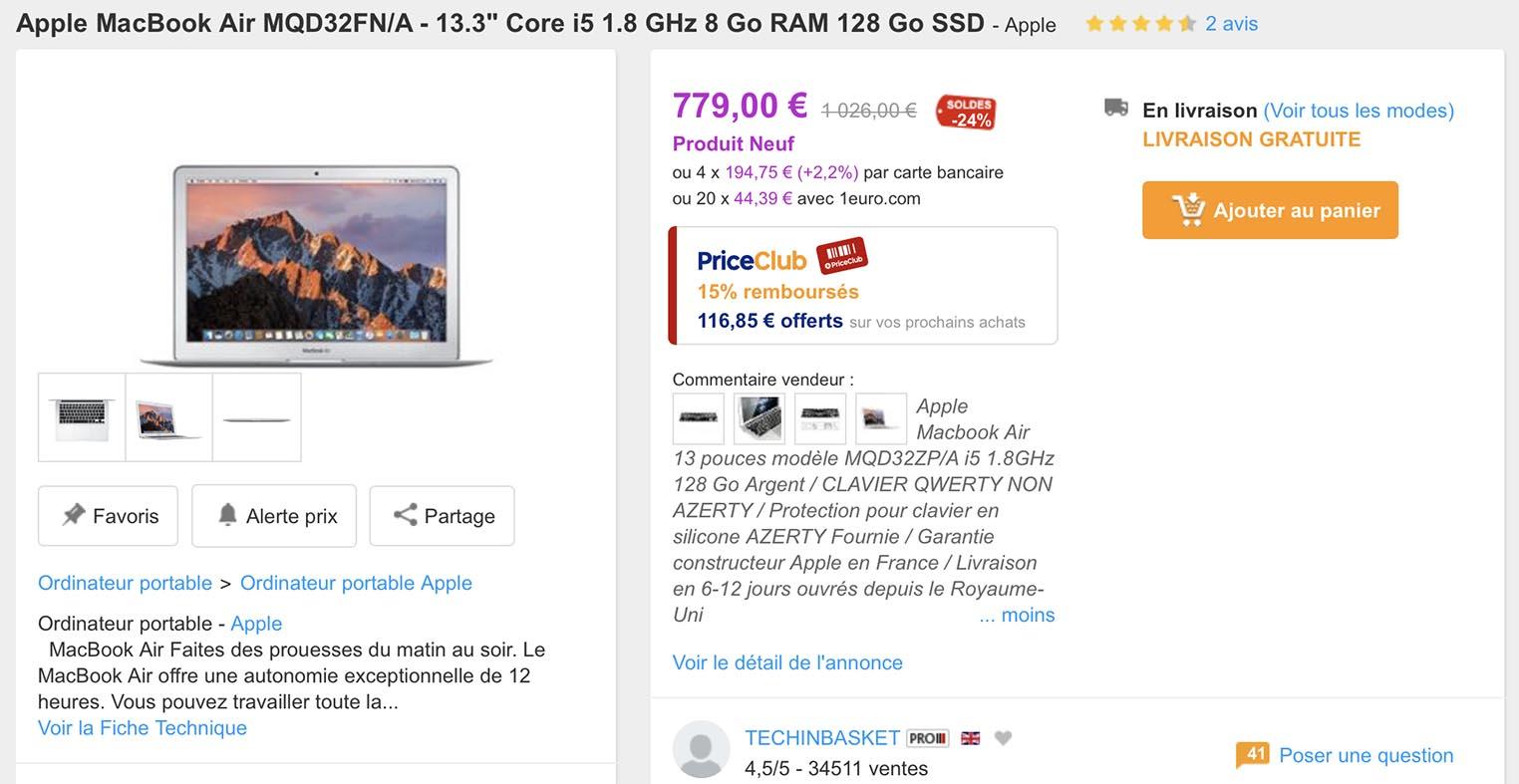 MacBook Air PriceMinister