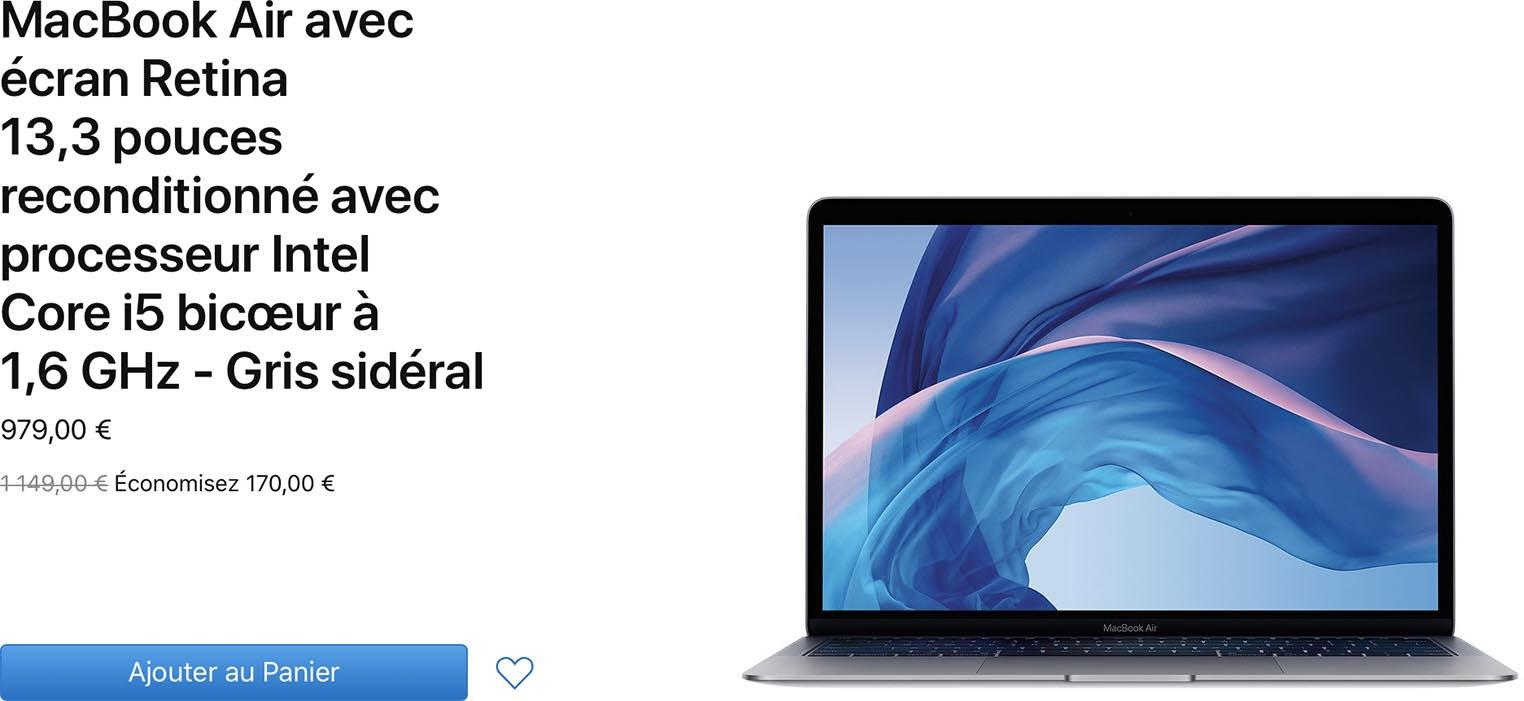 Des MacBook Air Retina à 979€ sur le Refurb Store