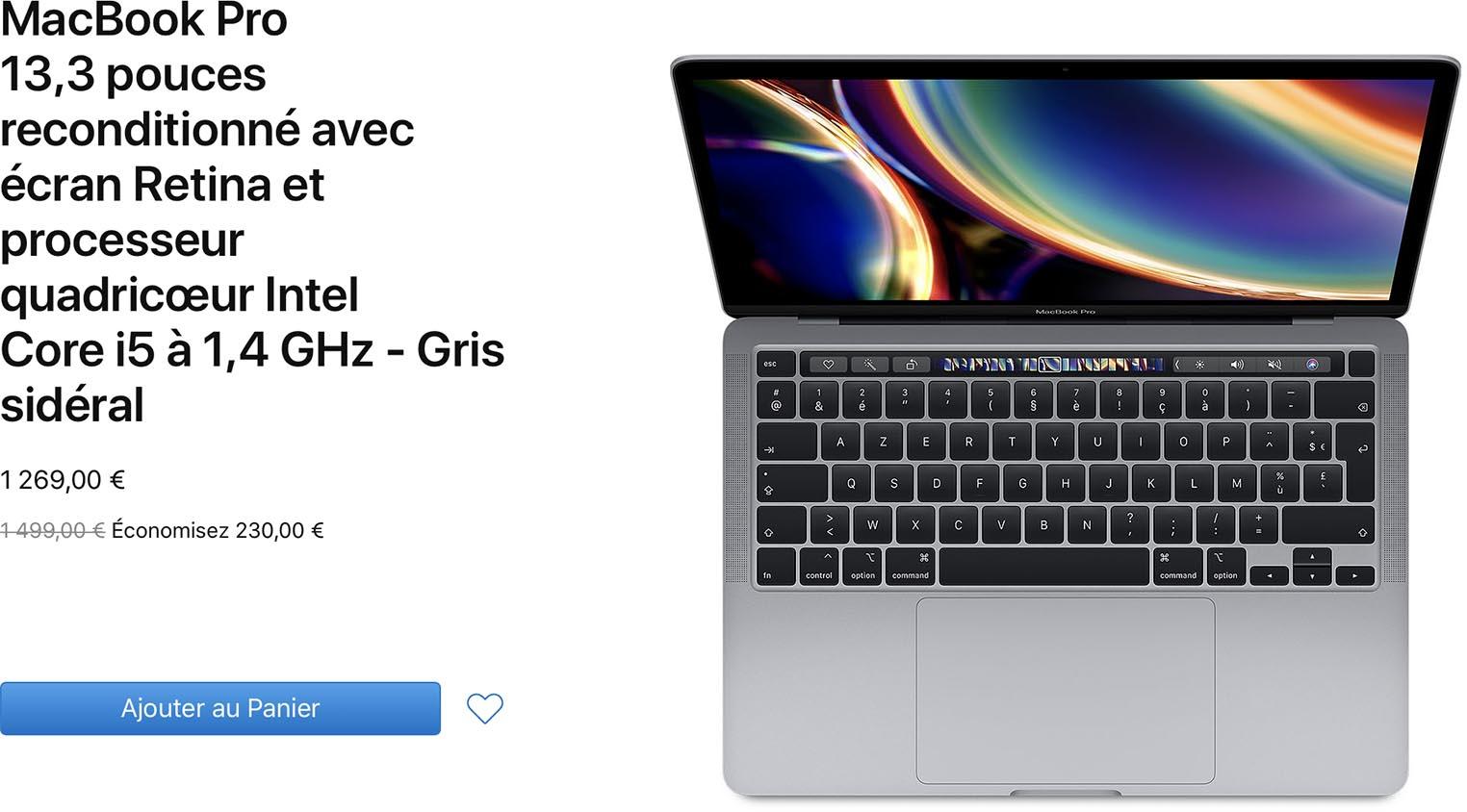 MacBook Pro 13 pouces 2020 Refurb Store