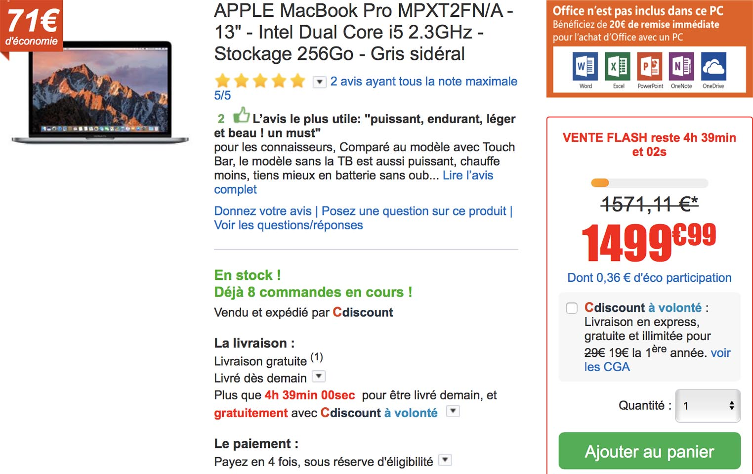 MacBook Pro vente flash CDiscount