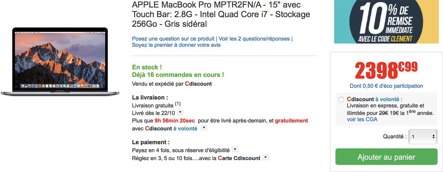 MacBook Pro 15 CDiscount