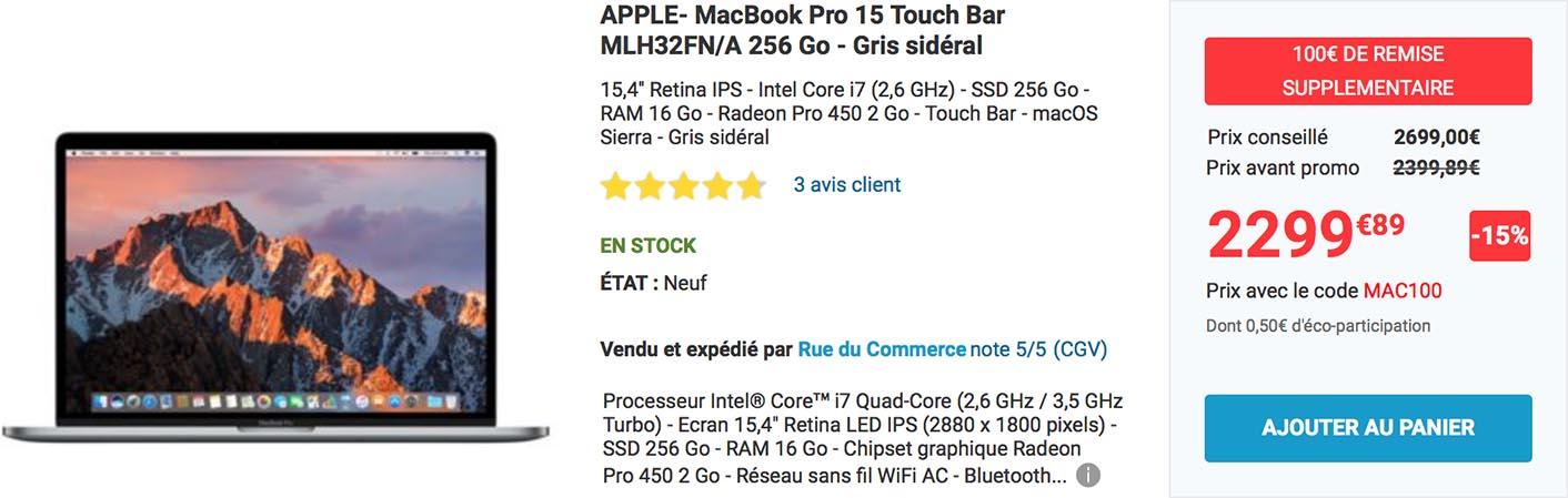 MacBook Pro promo Rue du Commerce